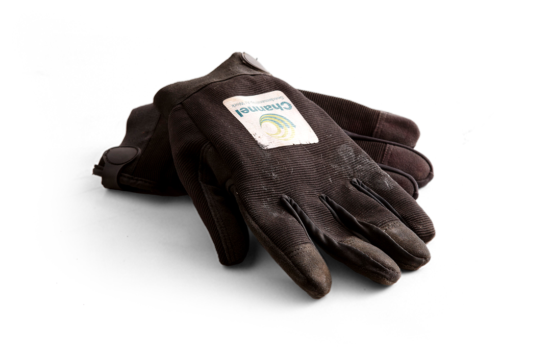 Channel work gloves on a white background