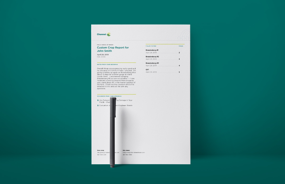 The cover of a Channel Custom Crop Report with a pen on a green background.