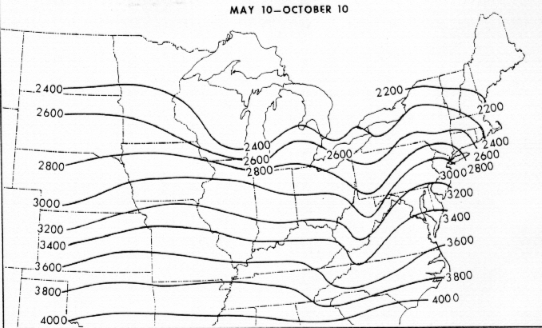 Map of Estimated normal growing degree days. Source: Neild, R.E. and Newman, J.E. 1990. Growing Season Characteristics and Requirements in the Corn Belt. Purdue University Extension. National Corn Handbook, NCH-40
