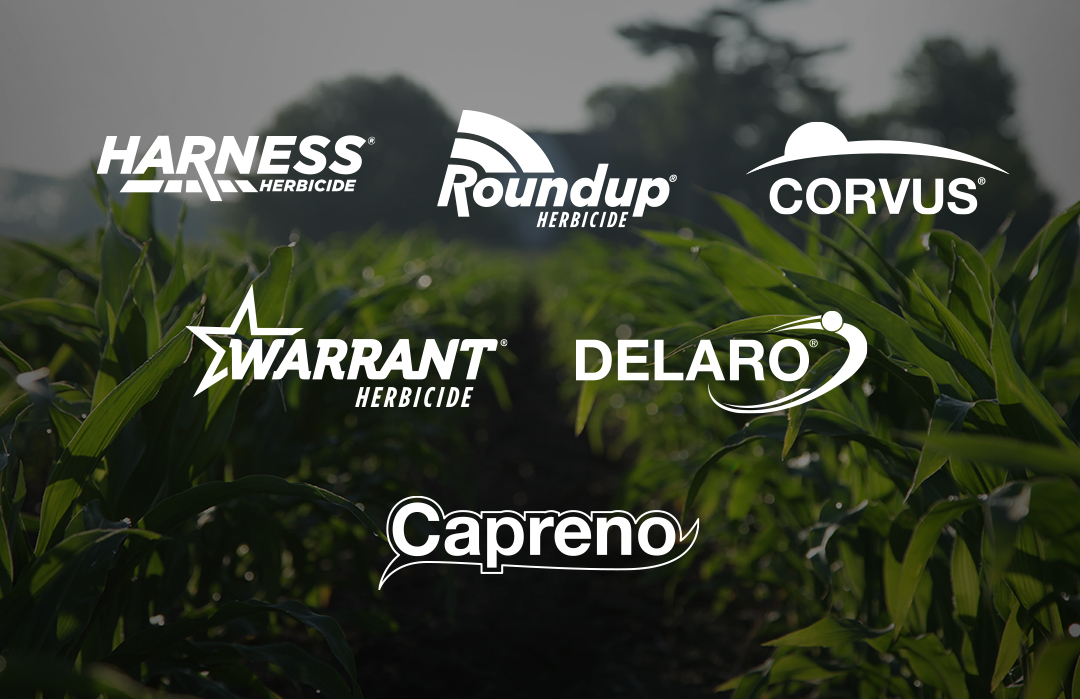 Channel and Bayer logo portfolio includes Harness Herbicide, Roundup Herbicide, Corvus, Warrant Herbicide, Delaro, Capreno, and Xtendimax with VaporGrip Technology.